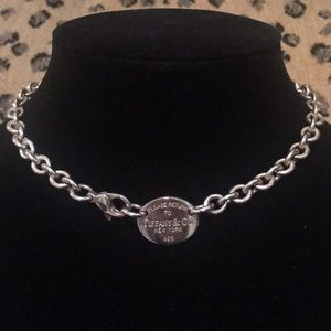 Tiffany & Co Sterling Silver Oval Tag Choker